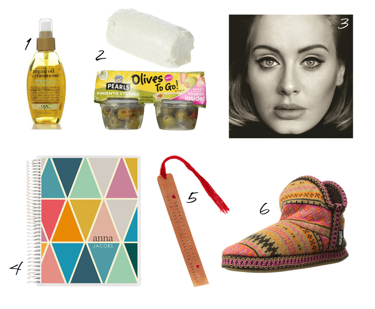argan hair oil, goat cheese, green olives, adele, erin condren, copper stamped book mark, muk luk slippers, carly